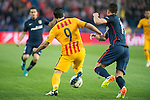 Atletico de Madrid's Augusto Hernandez and FC Barcelona Luis Suarez during Champions League 2015/2016 Quarter-Finals 2nd leg match. April 13, 2016. (ALTERPHOTOS/BorjaB.Hojas)