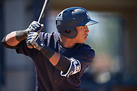 New York Yankees Oswald Peraza (3) during a Minor League Spring Training game against the Detroit Tigers on March 21, 2018 at the New York Yankees Minor League Complex in Tampa, Florida.  (Mike Janes/Four Seam Images)