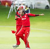 ICC World T20 Qualifier - GROUP B MATCH - Afghanistan v Oman at Heriots CC, Edinburgh - Mehran Khan dances to celebrate the final wicket as Oman win — credit @ICC/Donald MacLeod - 15.07.15 - 07702 319 738 -clanmacleod@btinternet.com - www.donald-macleod.com