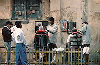 In the streets of Old Delhi, India in 1996 while retracing Mark Twain's journey around the world.