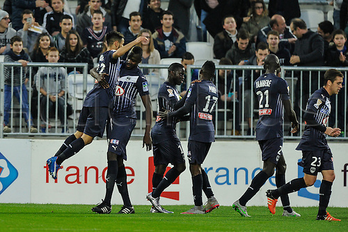 16.12.2015. Bordeaux, France. French League cup football from the Stade Chaban-Delmas. Bordeaux versus Monaco.  Bordeaux celebrate their first goal through Adam Ounas (gir)