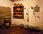 Replica kitchen at Mission San Carlos de Borromeo de Carmelo, a National Historic Landmark at Carmel, California