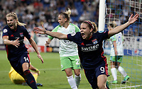 Football, Uefa Women's Champions League Final, VfL Wolfsburg - Olympique Lyonnais, Valeriy Lobanovskyi Stadium in Kiev on May 24, 2018.<br /> Olympique Lyonnais' Eug&eacute;nie Le Sommer celebrates after scoring during the Uefa Women's Champions League Final between  VfL Wolfsburg and Olympique Lyonnais, at the Valeriy Lobanovskyi Stadium in Kiev, on May 24, 2018.<br /> UPDATE IMAGES PRESS/Isabella Bonotto