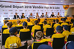 The headquarters of the 105th edition of the Tour de France are open in Mouilleron-le-Captif, the hometown of Thomas Voeckler in the outskirts of La Roche-sur-Yon, the prefecture of the Vend&eacute;e province were officially opened by Tour Director Christian Prudhomme ASO, Christelle Morancais Presidente du Conseil Regional Pays de la Loire and Yves Auvinet President du Conseil Regional de Vendee. 4th July 2018. <br /> Picture: ASO/Pauline Ballet | Cyclefile<br /> All photos usage must carry mandatory copyright credit (&copy; Cyclefile | ASO/Pauline Ballet)