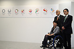 April 8, 2016, Tokyo, Japan - Tokyo2020 emblem selection committee members (L-R) Aki Taguchi of a Paralympiuan, Mori Yoshiro of former japanese Prime Minister and Ryohei Miyata of Tokyo University of Arts president unveil four candidate designs of Tokyo2020 Olympic and Paralympic Games emblems in Tokyo on Friday, April 8, 2016. The committee will decide the final design from the 14,599 entry designs on April 25.  (Photo by Yoshio Tsunoda/AFLO) LWX -ytd-