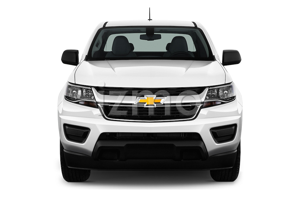 Car photography straight front view of a 2016 Chevrolet Colorado 2WD wt Extended Cab 3 Door Pick-up Front View