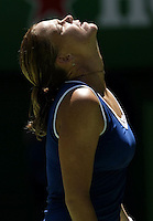 Lindsay Davenport of the USA looks dejected during her match with Justine Henin-Hardenne in their quarter-final match at the Australian Open. Henin-Hardenne won the match 7-5 6-3.  - pic by Trevor Collens.