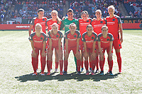 Portland, OR - Saturday August 05, 2017: Portland Thorns FC starting 11 before a regular season National Women's Soccer League (NWSL) match between the Portland Thorns FC and the Houston Dash at Providence Park.
