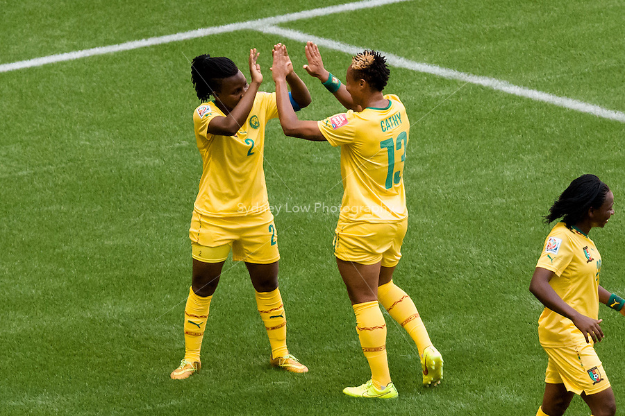 June 8, 2015: Christine MANIE of Cameroon celebrates her goal during a Group C match at the FIFA Women's World Cup Canada 2015 between Cameroon and Ecuador at BC Place Stadium on 8 June 2015 in Vancouver, Canada. Sydney Low/AsteriskImages