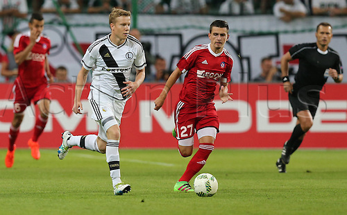 03.08.2016, Warsaw, Poland,  Michal Kopczynski (Legia), Denis Janco (Trencin), Legia Warsaw versus AS Trencin, Champions League, qualification. The game  ended in a 0-0 draw with Legio going through on away goal.