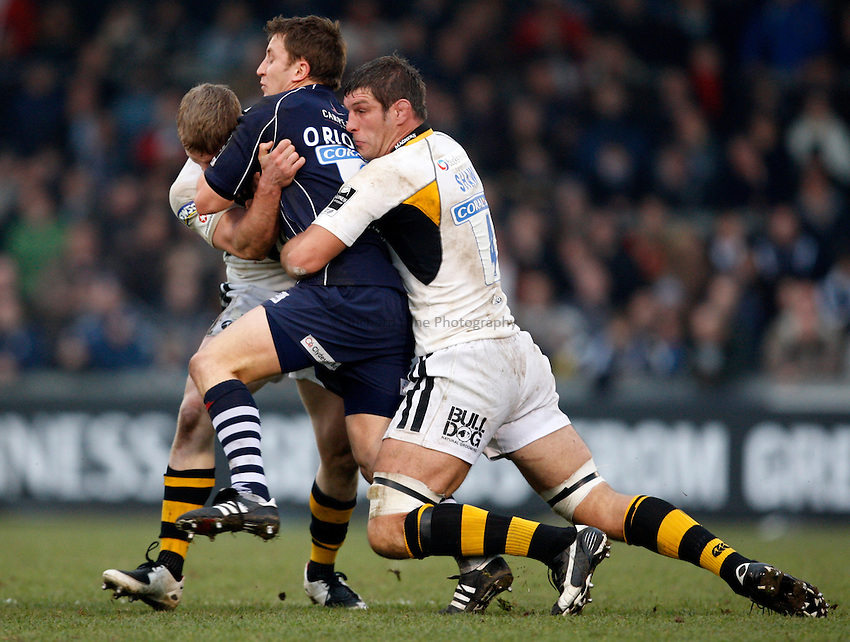 Photo: Richard Lane/Richard Lane Photography..Bristol Rugby v London Wasps. Guinness Premiership. 22/12/2007. .Wasps' Tom Rees and Simon Shaw (rt) tackle Bristol's Brian O'Riordan.