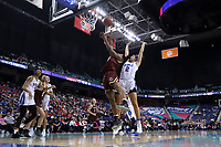 GREENSBORO, NC - MARCH 06: Taylor Soule #13 of Boston College gets behind Haley Gorecki #2 of Duke University and shoots the ball during a game between Boston College and Duke at Greensboro Coliseum on March 06, 2020 in Greensboro, North Carolina.