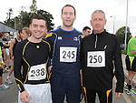 Steven Lynch, Duane Crosby and John McArdle who took part in the Ferdia 10k run in Ardee. Photo: Colin Bell/pressphotos.ie