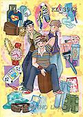 Interlitho, Nino, TEENAGERS, paintings, 3 travel boys(KL3962,#J#) Jugendliche, jóvenes, illustrations, pinturas ,everyday