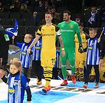 16.03.2019, OLympiastadion, Berlin, GER, DFL, 1.FBL, Hertha BSC VS. Borussia Dortmund, <br /> DFL  regulations prohibit any use of photographs as image sequences and/or quasi-video<br /> <br /> im Bild Marco Reus (Borussia Dortmund #11), Roman Buerki (Borussia Dortmund #1), <br /> <br />       <br /> Foto © nordphoto / Engler