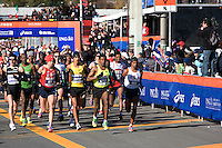 The Men's Elite runners lead off the Wave One start on Staten Island at the ING New York City Marathon on 07 November 2010 with Dathan Ritzenhein, Marilson Gomes Dos Santos, Haile Gebrselassie, and Meb Keflezighi in the lead.