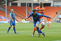 Gillingham's Darren Oldaker under pressure from Blackpool's Armand Gnanduillet<br /> <br /> Photographer Kevin Barnes/CameraSport<br /> <br /> The EFL Sky Bet League One - Blackpool v Gillingham - Saturday 4th May 2019 - Bloomfield Road - Blackpool<br /> <br /> World Copyright © 2019 CameraSport. All rights reserved. 43 Linden Ave. Countesthorpe. Leicester. England. LE8 5PG - Tel: +44 (0) 116 277 4147 - admin@camerasport.com - www.camerasport.com