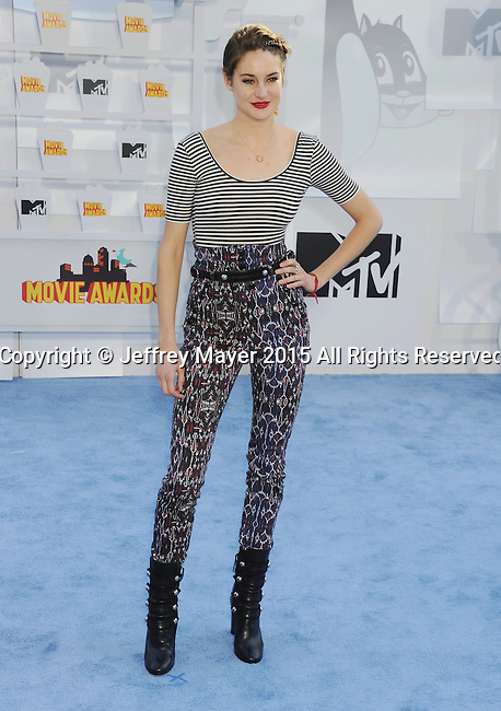 LOS ANGELES, CA - APRIL 12: Actress Shailene Woodley arrives at the 2015 MTV Movie Awards at Nokia Theatre L.A. Live on April 12, 2015 in Los Angeles, California.