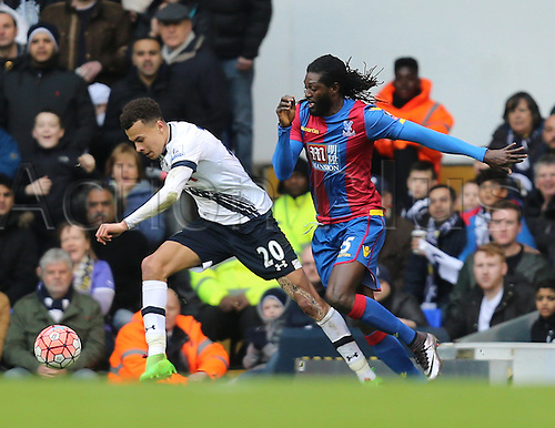 21.02.2016. White Hart Lane, London, England. Emirates FA Cup 5th Round. Tottenham Hotspur versus Crystal Palace. Emmanuel Adebayor and Dele Alli on the ball