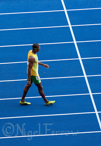 19 AUG 2009 - BERLIN, GER - Maurice Smith (JAM) prepares for his 100m Heat of the Decathlon at the World Athletics Championships (PHOTO (C) NIGEL FARROW)