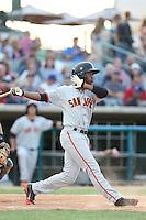 Chris Lofton #15 of the San Jose Giants bats against the Lancaster JetHawks at The Hanger on May 3, 2014 in Lancaster, California. San Jose defeated Lancaster, 5-4. (Larry Goren/Four Seam Images)
