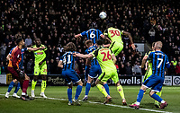 Bolton Wanderers' Yoan Zouma competing with Rochdale's Eoghan O'Connell (upper left) <br /> <br /> Photographer Andrew Kearns/CameraSport<br /> <br /> The EFL Sky Bet League One - Rochdale v Bolton Wanderers - Saturday 11th January 2020 - Spotland Stadium - Rochdale<br /> <br /> World Copyright © 2020 CameraSport. All rights reserved. 43 Linden Ave. Countesthorpe. Leicester. England. LE8 5PG - Tel: +44 (0) 116 277 4147 - admin@camerasport.com - www.camerasport.com