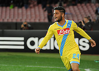 Lorenzo Insigne  celebrates after scoring  <br /> <br />  UEFA Europa League round of 32 second  leg match, betweenAC  Napoli  and Swansea City   at San Paolo stadium in Naples, Feburary 27 , 2014  <br /> <br />  Esultanza