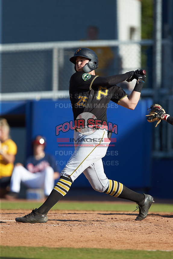 Conner Uselton (25) of the Bristol Pirates follows through on his swing against the Danville Braves at American Legion Post 325 Field on July 1, 2018 in Danville, Virginia. The Braves defeated the Pirates 3-2 in 10 innings. (Brian Westerholt/Four Seam Images)
