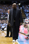 24 January 2015: Florida State head coach Leonard Hamilton wears sneakers as part of the American Cancer Society's Coaches vs. Cancer campaign. The University of North Carolina Tar Heels played the Florida State University Seminoles in an NCAA Division I Men's basketball game at the Dean E. Smith Center in Chapel Hill, North Carolina. UNC won the game 78-74.