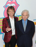 NEW YORK, NY - NOVEMBER 15:  Mick Jagger and Charlie Watts of The Rolling Stones attend The Rolling Stones Exhibitionism opening night at Industria Superstudio on November 15, 2016 in New York City. Photo by John Palmer MediaPunch