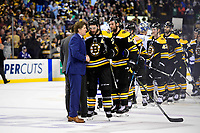 April 25, 2018: Boston Bruins center Patrice Bergeron (37) shakes hands with Toronto Maple Leafs head coach Mike Babcock after game seven of the first round of the National Hockey League's Eastern Conference Stanley Cup playoffs between the Toronto Maple Leafs and the Boston Bruins held at TD Garden, in Boston, Mass. Boston defeats Toronto 7-4 and wins the best of seven series 4 games to 3 to advance to round two.