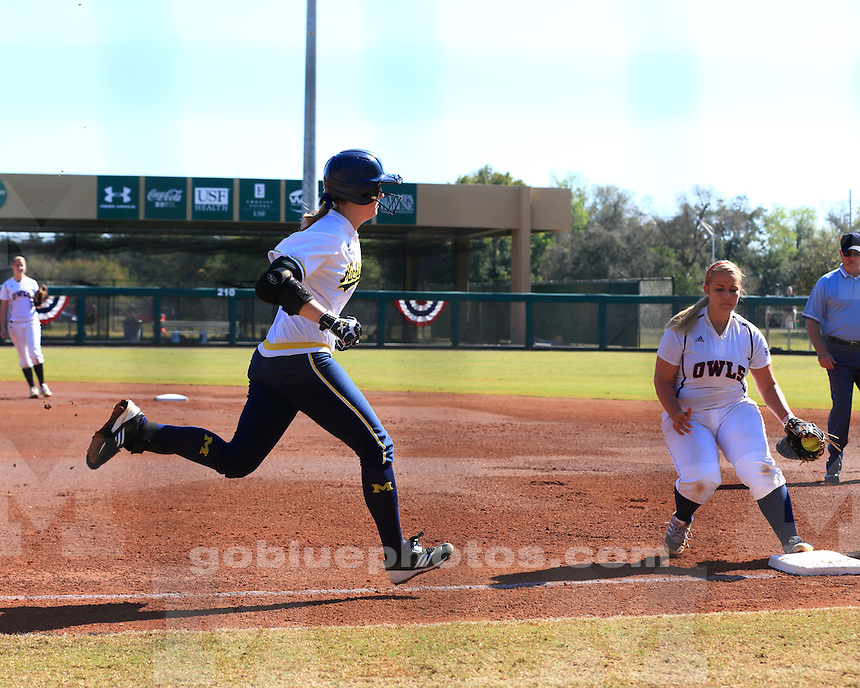 The University of Michigan softball team beat Florida Atlantic, 10-2 in 5 innings, at the University of South Florida Tournament in Tampa, Fla., on February 9, 2013.