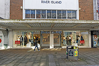 Pictured: River Island with its shutters closed in Oxford Street, Swansea, south Wales, UK. Friday 20 March 2020<br /> Re: Covid-19 Coronavirus pandemic, UK.