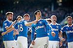 Haris Vuckic celebrates his goal for Rangers