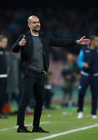Football Soccer: UEFA Champions League Napoli vs Mabchester City San Paolo stadium Naples, Italy, November 1, 2017. <br /> Manchester City's Josep Guardiola reacts during the Uefa Champions League football soccer match between Napoli and Manchester City at San Paolo stadium, November 1, 2017.<br /> UPDATE IMAGES PRESS/Isabella Bonotto
