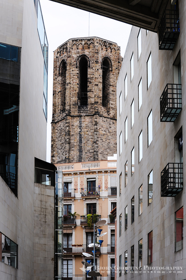 Spain, Barcelona. La Rambla is a street in central Barcelona. Tower of the Santa Maria del Pi church.