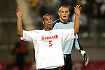 1 November 2006: Maryland's A.J. Godbolt (5) and Boston College goalkeeper Chris Brown (right). Maryland defeated Boston College 1-0 in double overtime at the Maryland Soccerplex in Germantown, Maryland in an Atlantic Coast Conference college soccer tournament quarterfinal game.