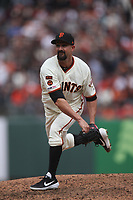 SAN FRANCISCO, CA - APRIL 5:  Nick Vincent #61 of the San Francisco Giants pitches against the Tampa Bay Rays during the game at Oracle Park on Friday, April 5, 2019 in San Francisco, California. (Photo by Brad Mangin)