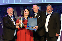 Sarah Brennan, Kilkenny Musical Society,who were 2nd Overall Winners in the Gilbert Section for the show 'Parade' receiving the trophy from on left, Colm Moules, President, AIMS and Seamus Power, Vice-President at the Association of Irish Musical Societies annual awards in the INEC, KIllarney at the weekend. Also in photo is AIMS adjudicator Peter Kennedy.<br /> Photo: Don MacMonagle -macmonagle.com<br /> <br /> <br /> <br /> repro free photo from AIMS<br /> Further Information:<br /> Kate Furlong AIMS PRO kate.furlong84@gmail.com
