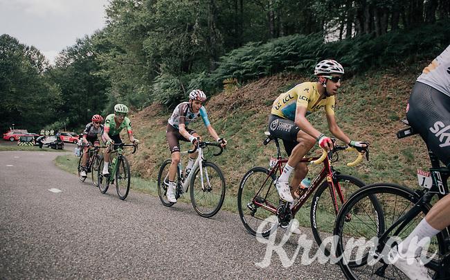 Fabio Aru (ITA/Astana) and other GC contenders up the Mur de P&eacute;gu&egrave;re (Cat1/1375m/9.3km/7.9%)<br /> <br /> 104th Tour de France 2017<br /> Stage 13 - Saint-Girons &rsaquo; Foix (100km)