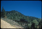 D&amp;RGW #452 southbound on Dead Horse Gulch Trestle, viewed from the road below.<br /> RGS  Wade, CO  Taken by Kindig, Richard H. - 9/4/1951