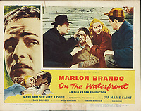 On the Waterfront (1954) <br /> Lobby card with Marlon Brando, Eva Marie Saint &amp; Karl Malden<br /> *Filmstill - Editorial Use Only*<br /> CAP/MFS<br /> Image supplied by Capital Pictures