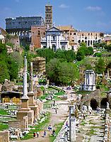 ITA, Italien, Latium, Rom: Forum Romanum, Colosseum, Kirche Sta. Francesca | ITA, Italy, Lazio, Rome: Forum Romanum, Colosseum, church Sta. Francesca