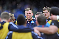 Nick Koster looks on in a huddle during the pre-match warm-up. Amlin Challenge Cup match, between Bath Rugby and Agen on January 12, 2013 at the Recreation Ground in Bath, England. Photo by: Patrick Khachfe / Onside Images