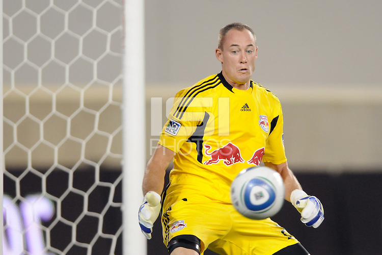 New York Red Bulls goalkeeper Greg Sutton (24) watches a shot hit the post. The New York Red Bulls defeated the New England Revolution 2-1 during a Major League Soccer (MLS) match at Red Bull Arena in Harrison, NJ, on June 10, 2011.