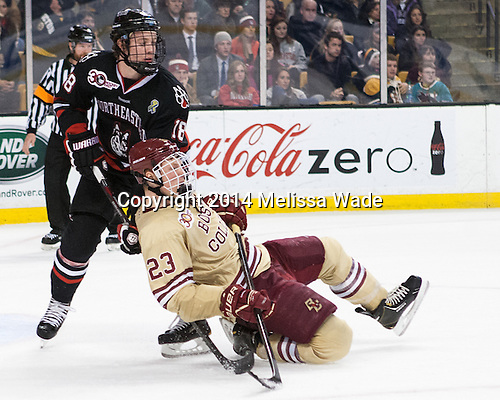 John Stevens (NU - 18), Patrick Brown (BC - 23) - The Boston College Eagles defeated the Northeastern University Huskies 4-1 (EN) on Monday, February 10, 2014, in the 2014 Beanpot Championship game at TD Garden in Boston, Massachusetts.