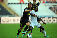 Saturday, 20 October 2012<br /> Pictured: Nathan Dyer of Swansea (R) challenged by Shaun Maloney of Wigan (L)<br /> Re: Barclays Premier League, Swansea City FC v Wigan Athletic at the Liberty Stadium, south Wales.