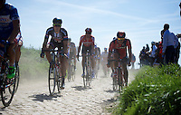 Jempy Drucker (LUX/BMC) riding next to Koen de Kort (NLD/Giant-Alpecin) over the cobbles of sector 23: Vertain to Saint-Martin-sur-&Eacute;caillon (2.3km)<br /> <br /> 113th Paris-Roubaix 2015