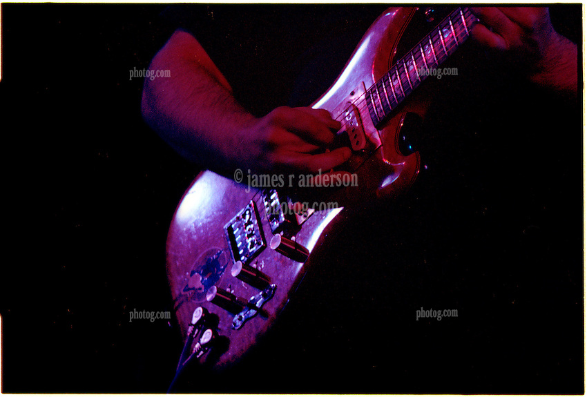 Close up photograph of Jerry Garcia's hands while playing guitar. With The Grateful Dead in Concert at Huntington West Virginia Civic Center 16 April 1978