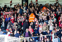 Accrington Stanley fans during the Sky Bet League 2 match between Wycombe Wanderers and Accrington Stanley at Adams Park, High Wycombe, England on the 30th April 2016. Photo by Liam McAvoy / PRiME Media Images.